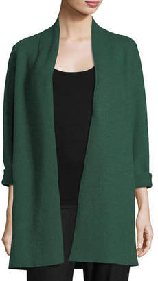 Eileen Fisher High-Collar Open-Front Boiled Wool Coat, Petite