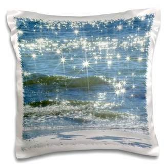 3dRose Print of Wave crests Sparkle Over Florida Beach - Pillow Case, 16 by 16-inch