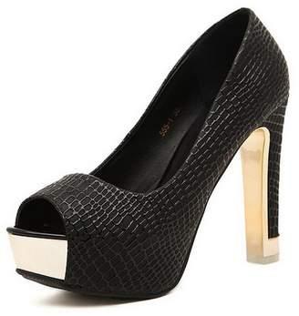 PeepToe AdeeSu Womens Peep-Toe Chunky Heels Platform Microfiber Pumps Shoes