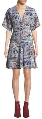 Carven Printed V-Neck Short-Sleeve Dress