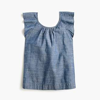 J.Crew Girls' flutter-sleeve top in chambray