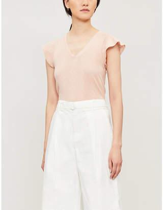 Claudie Pierlot Tresseh V-neck cotton-jersey T-shirt