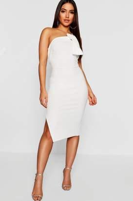 boohoo One Shoulder Drape Detail Midi Dress