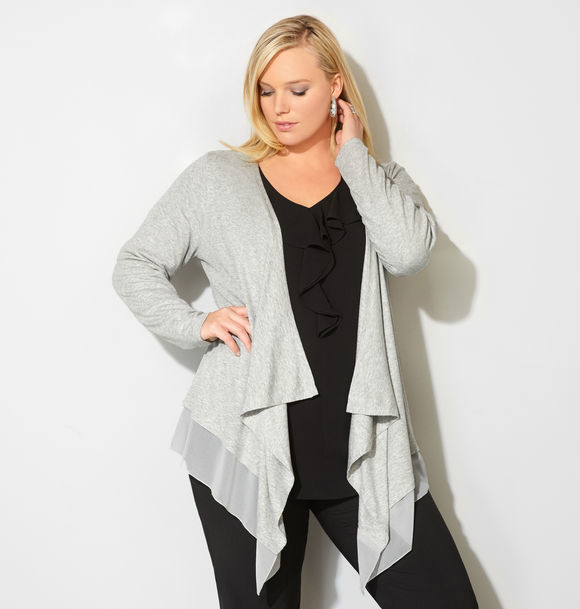 Draped Chiffon Trim Cardigan