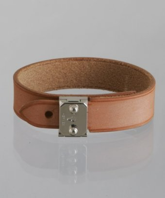 Hermes natural sable leather 'Las Vegas' lock bracelet