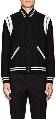 Saint Laurent Men's Classic Leather-Trimmed Wool-Blend Teddy Jacket - Black