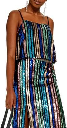 Topshop Sequin Stripe Cami