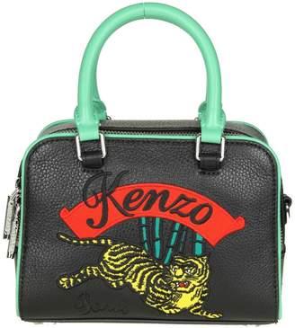 Kenzo Tiger Shoulder In Black Leather