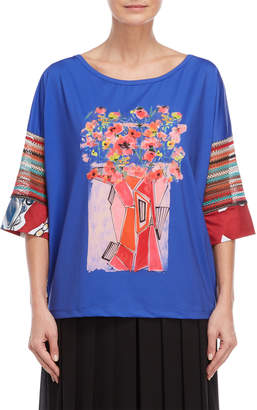 Save The Queen Sheer Accent Floral Print Tee