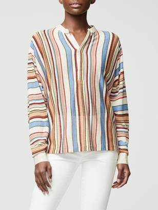 Frame Striped Henley Sweater