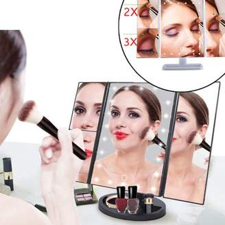 LED Lighted Vanity Makeup Mirror, Estink Trifold Rectangle 3 Way Magnifying Makeup Mirror with Sensor Switch and Adjustable Tabletop Stand, 1x 2x 3x