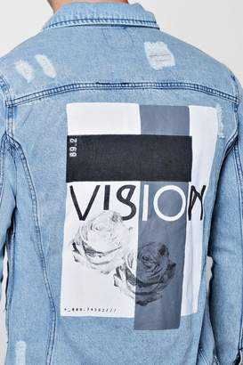 boohoo Graphic Back Print Denim Jacket