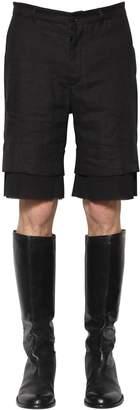 Ann Demeulemeester Hemp Shorts W/ Gauze Details