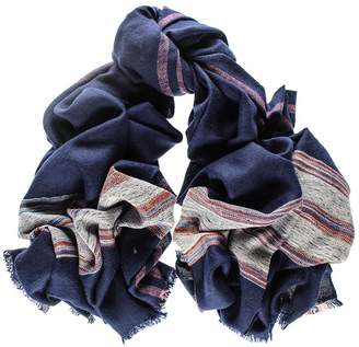 Black Navy and Pink Cashmere Ring Shawl