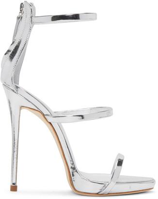 Giuseppe Zanotti Silver Colline Heeled Sandals $845 thestylecure.com
