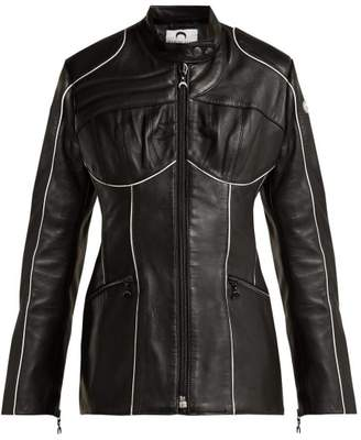 Marine Serre - Corset Style Leather Biker Jacket - Womens - Black