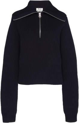 Acne Studios Zip-Detailed Rib-Knit Wool Sweater