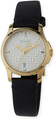 Gucci 27mm G-Timeless Textured Watch w\/ Leather Strap Black