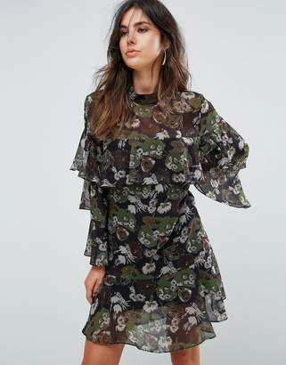 Liquorish Floral Print Tiered Dress
