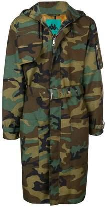 Paura x Kappa camouflage print hooded coat
