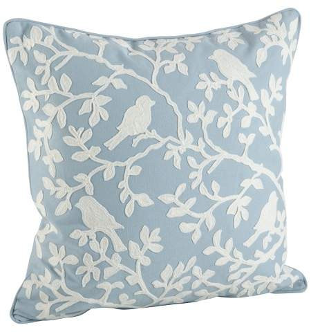 Saro Lifestyle Embroidered Bird Pillow