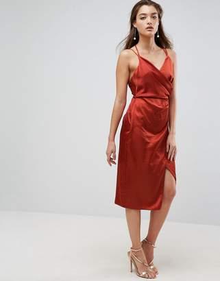 Asos Design Hammered Satin Pencil Cami Wrap Midi Dress