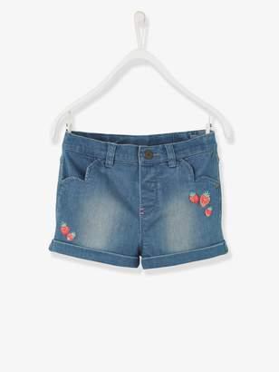 Vertbaudet Girls' Embroidered Shorts in Stretch Denim