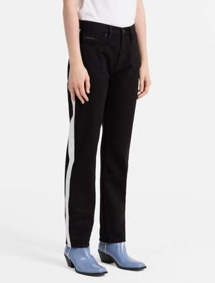 Calvin Klein straight tapered high rise striped jeans