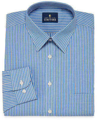 STAFFORD Stafford Travel Performance Super Shirt Big And Tall Long Sleeve Broadcloth Stripe Dress Shirt