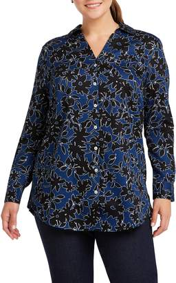 Foxcroft Ivy Wrinkle Free Shadow Floral Tunic Shirt