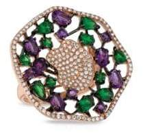 Marco Moore Diamond, Green Garnet, Amethyst and Rose Gold Statement Ring, 0.55 TCW