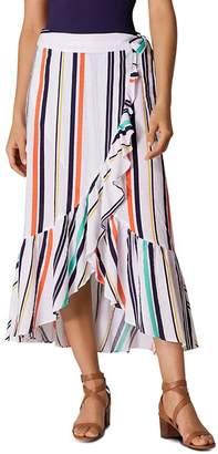 Karen Millen Ruffled Striped Wrap Skirt