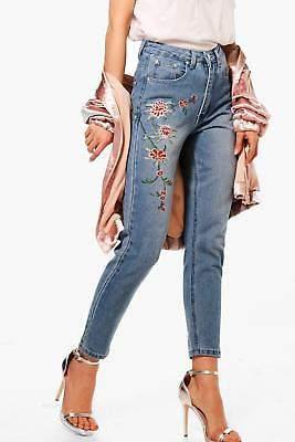 Damen Petite Emily Bestickte Mom-Jeans