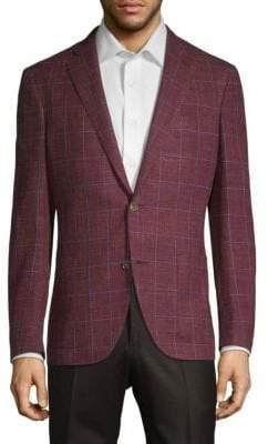 Luciano Barbera Windowpane Wool, Silk & Linen Jacket