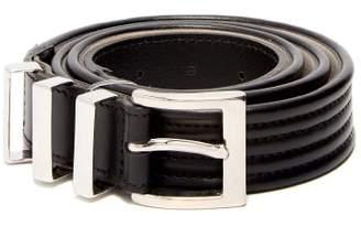 Balmain Triple Loop Leather Belt - Mens - Black