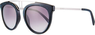 Balmain Round Gradient Acetate & Metal Double-Bridge Sunglasses