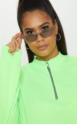 PrettyLittleThing Grey Narrow Slim Angular Cat Eye Sunglasses