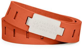 Maison Margiela Code-Buckle Leather Belt $325 thestylecure.com