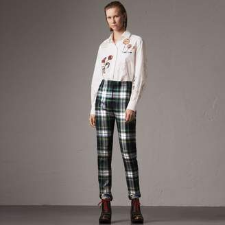 Burberry Tartan Wool High-waisted Stirrup Trousers