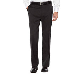 Savane Crosshatch Stretch Straight Fit Flat Front Pants - Men's