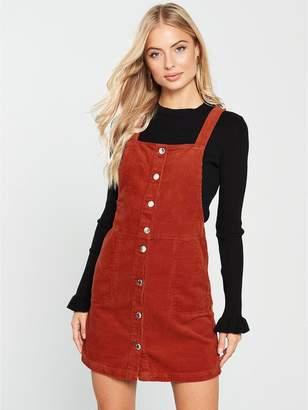 Miss Selfridge Cord Pinny Dress - Rust