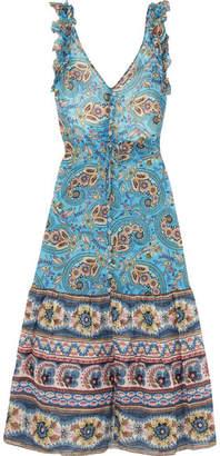 Anjuna - Alexandra Ruffled Printed Cotton-gauze Midi Dress - Blue