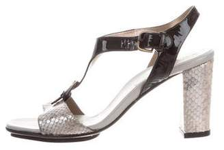 Anyi Lu Snakeskin & Patent Leather T-Strap Sandals