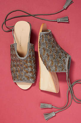 Anthropologie Beaded Wedge Sandals