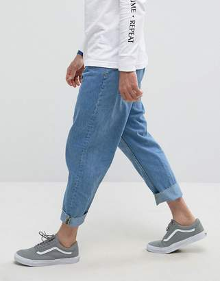 Bershka Wide Fit Jeans In Mid Blue Wash