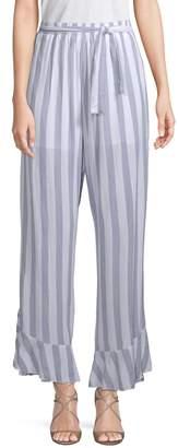 Allison New York Ruffled Striped Cotton Pants