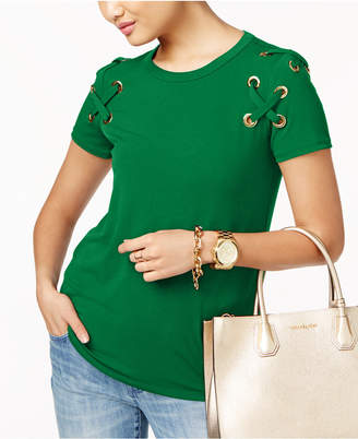 Michael Kors Lace-Up T-Shirt in Regular & Petitie Sizes