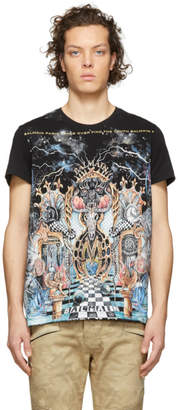 Balmain Black and Multicolor Graphic T-Shirt