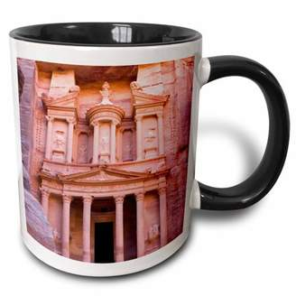 3dRose Facade of Treasury (Al Khazneh), Petra, Jordan - AS16 KSU0062 - Keren Su - Two Tone Black Mug, 11-ounce