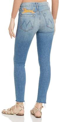 Mother Looker High-Rise Raw-Edge Ankle Skinny Jeans in Shoot To Thrill Leopard